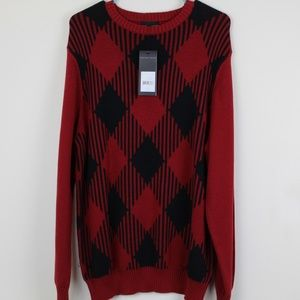 Geoffrey Beene Sweater Mens Large Red Black Cotton